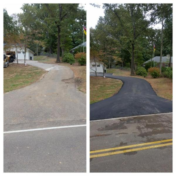 A before & after view of this driveway we worked on.